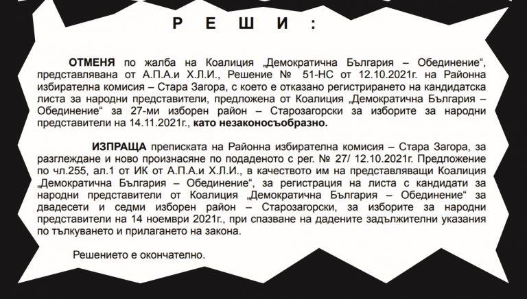 """""""Демократична България"""" спечели делото в Стара Загора и ще има листа за изборите"""